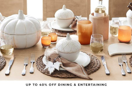 Up to 40% Off Dining & Entertaining