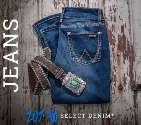 20% Off Select Denim from Boot Barn Western And Work Wear