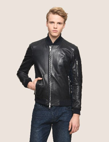 Nylon Inset Leather Bomber