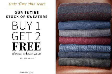 Entire Stock of Sweaters Buy 1, Get 2 Free from Jos. A. Bank