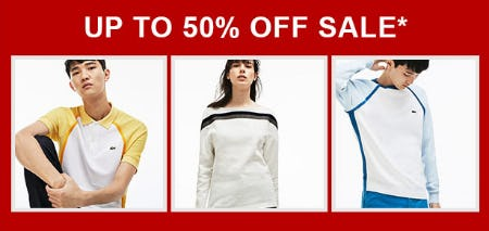 Up to 50% Off Sale from Lacoste