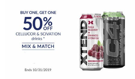 BOGO 50% Off Cellucor & Scivation Drinks
