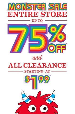 Monster Sale up to 75% Off