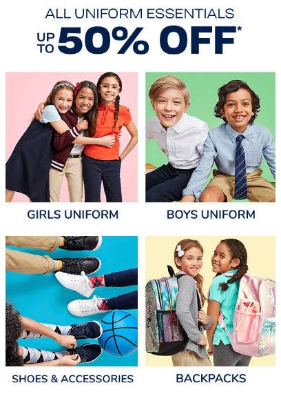 All Uniform Essentials up to 50% Off from The Children's Place Gymboree