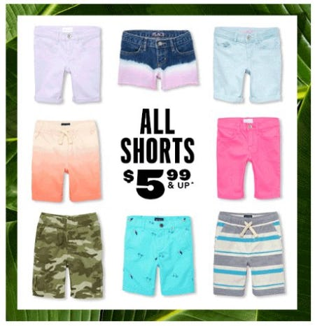 All Shorts $5.99 & Up from The Children's Place