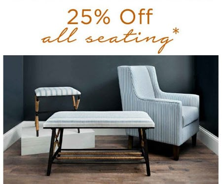 25% Off All Seating from Kirkland's