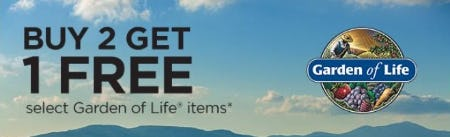 Buy 2 Get 1 Free on Garden of Life Items from Vitamin World