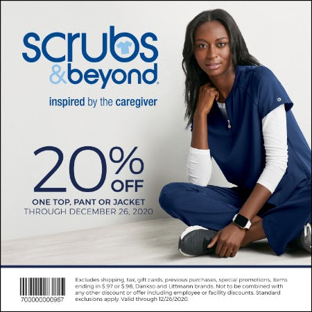 Winter 2020 Coupon: 20% off one top, pant or jacket from Scrubs & Beyond