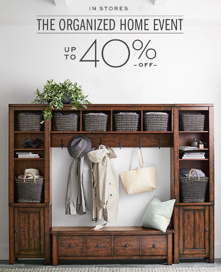 Up to 40% Off The Organized Home Event from Pottery Barn