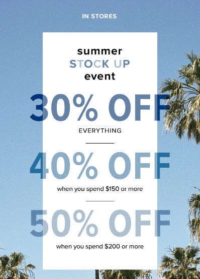 Up to 50% Off Summer Stock Up Event