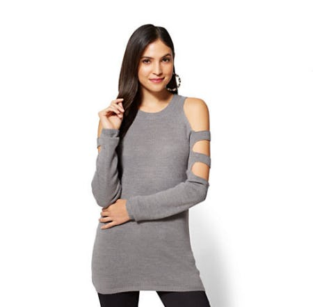 Ladder-Sleeve Tunic Sweater
