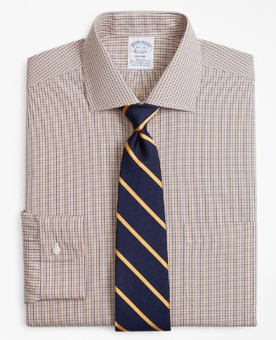 Stretch Regent Fitted Dress Shirt, Non-Iron Two-Tone Gingham from Brooks Brothers