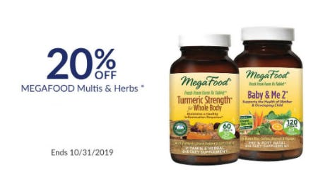 20% Off Megafood Multis & Herbs from The Vitamin Shoppe