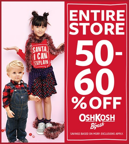 Beat The Rush! 50-60% Off Entire Store from Oshkosh B'gosh