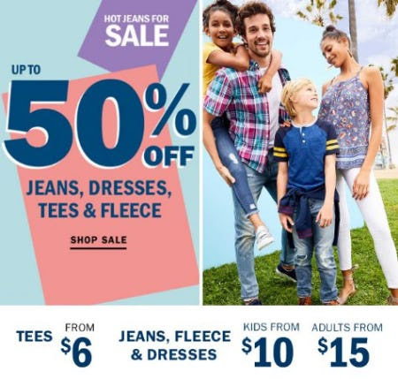 Up to 50% Off Jeans, Dresses, Tees & Fleece from Old Navy