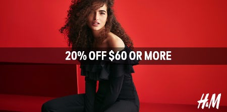 Enjoy 20% off Purchases of $60 or More