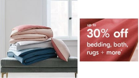 Up to 30% Off Bedding, Bath, Rugs & More from West Elm