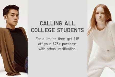 College Students Get $15 Off on Your $75+ Purchase from Uniqlo