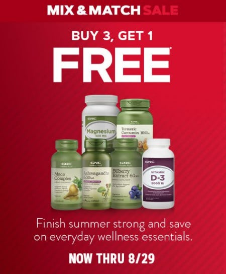 Buy 3, Get 1 Free from GNC