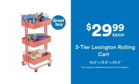 $29.99 Each 3-Tier Lexington Rolling Cart from Michaels