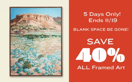 Save 40% on All Framed Art