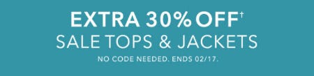 Extra 30% Off Sale Tops & Jackets from Athleta