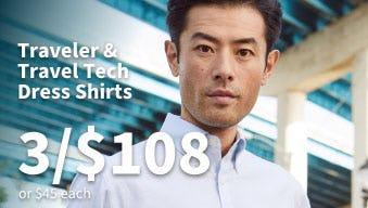 3 for $108 Traveler & Travel Tech Dress Shirts from Jos. A. Bank