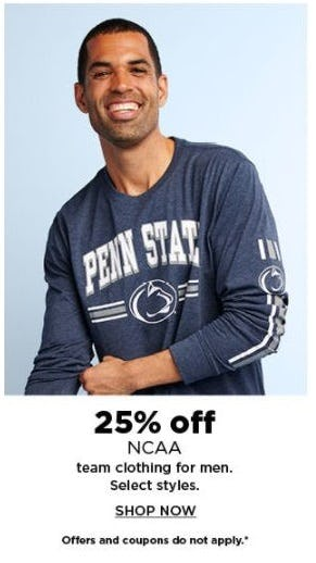 25% Off NCAA Team Clothing for Men from Kohl's