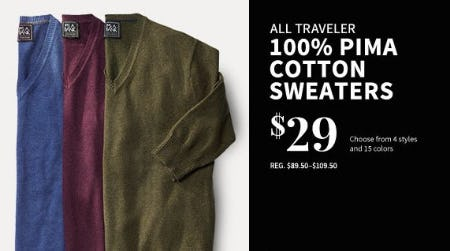 All Traveler 100% Pima Cotton Sweaters $29 from Jos. A. Bank