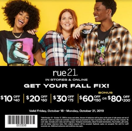 rue21 Weekend Coupon from rue21