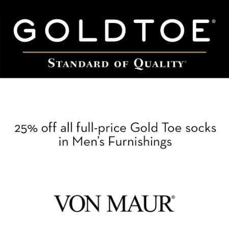 Gold Toe Men's Furnishings 25% off