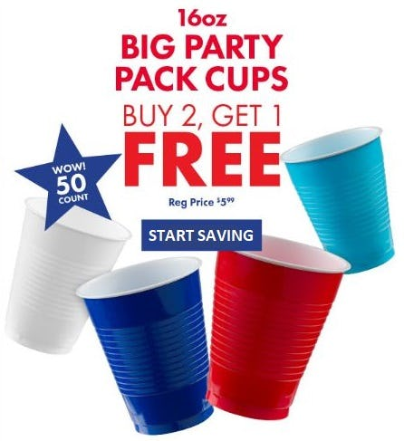 B2G1 Free 16oz Big Party Pack Cups from Party City