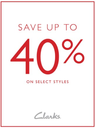 Save Up To 40% from Clarks