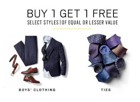 BOGO Free Boys' Clothing & Ties from Men's Wearhouse