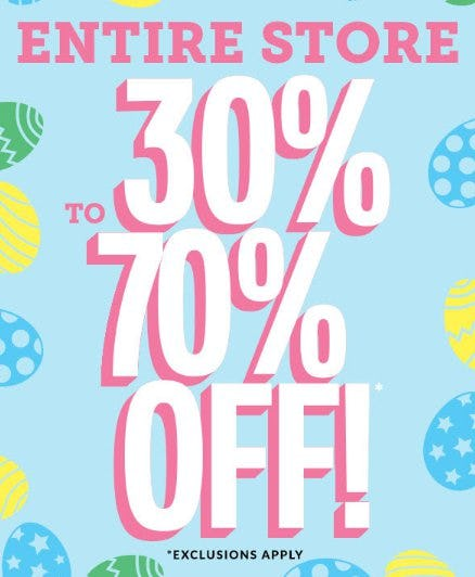 Entire Store 30% to 70% Off from The Children's Place