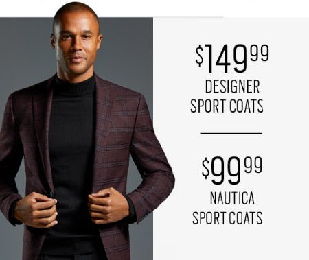 $149.99 Designer Sport Coats & $99.99 Nautica Sport Coats from Men's Wearhouse and Tux