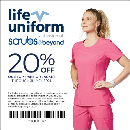 20% OFF ONE TOP, PANT OR JACKET from Life Uniform