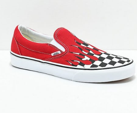 Vans Slip-On Checkerboard Flame Red & White Skate Shoes from Zumiez