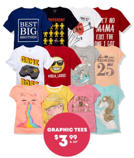 Graphic Tees $3.99 & Up from The Children's Place