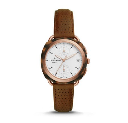The Curator Series Fossil x Amber Interiors Multifunction Brown Leather Watch