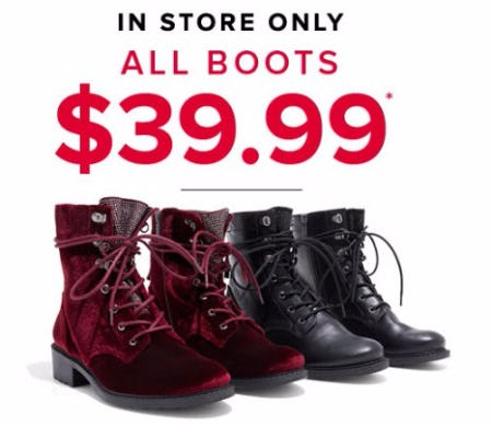 All Boots $39.99