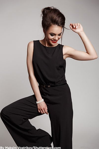 Woman in black jumpsuit.
