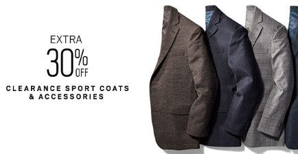 Extra 30% Off Clearance Sport Coats & Accessories from Men's Wearhouse and Tux