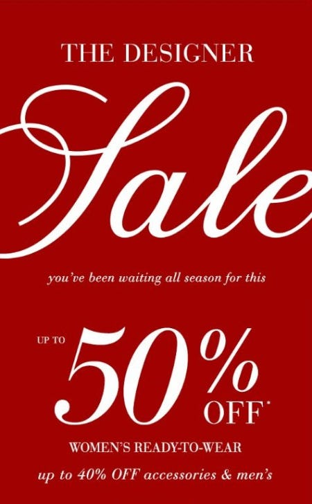 The Designer Sale up to 50% Off from Saks Fifth Avenue