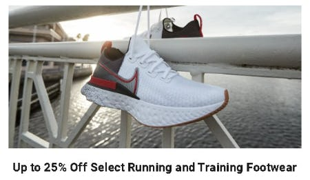 Up to 25% Off Select Running and Training Footwear