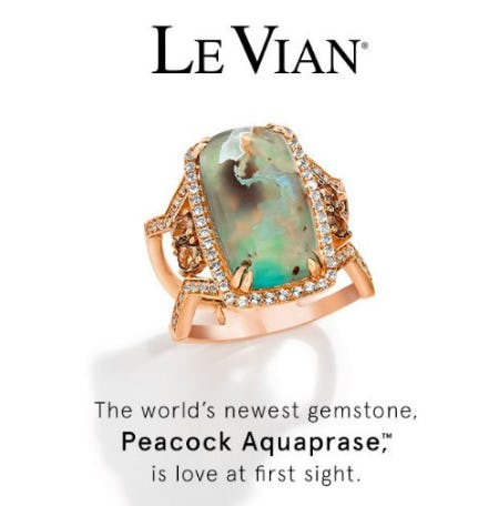 The World's Newest Gemstone: Le Vian Peacock Aquaprase. from Kay Jewelers