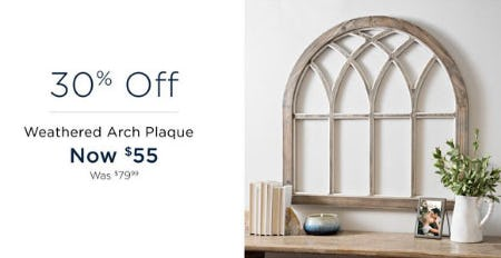 30% Off Weathered Arch Plaque from Kirkland's