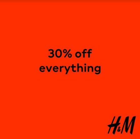 Black Friday 30% off from H&M
