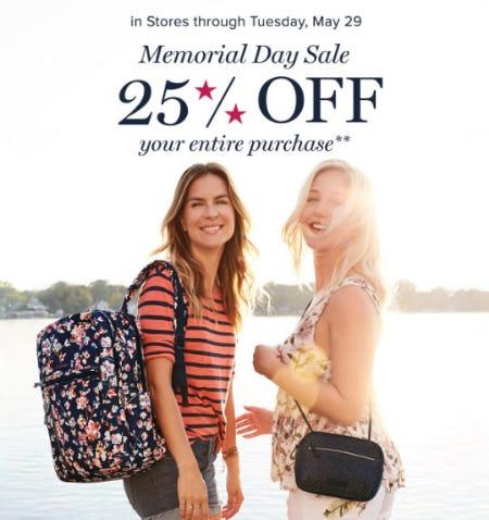 25% Off Memorial Day Sale from Vera Bradley
