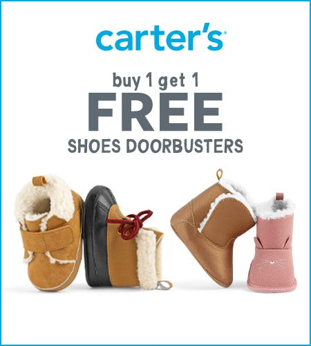 Doorbusters: Buy 1 Get 1 Free Shoes from Carter's
